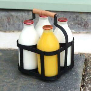 Metal Milk Bottle Holder with Wooden Handle