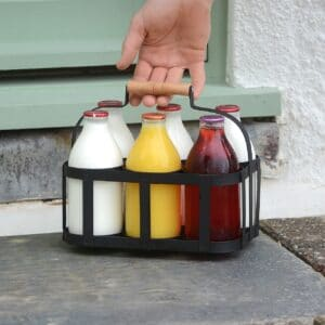 Metal Milk Bottle Holder with Wooden Handle