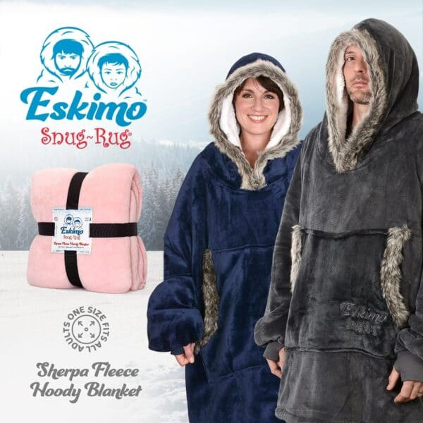 Snug Rug Eskimo Blanket Hoodie Oversized Giant Sweatshirt - Navy Blue-9589