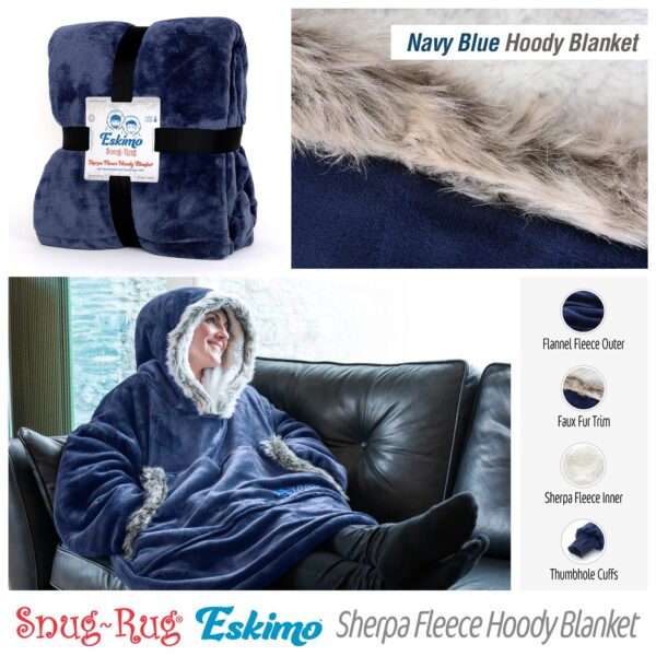 Snug Rug Eskimo Blanket Hoodie Oversized Giant Sweatshirt - Navy Blue-9598