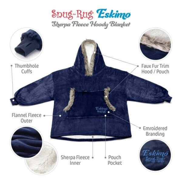 Snug Rug Eskimo Blanket Hoodie Oversized Giant Sweatshirt - Navy Blue-9591
