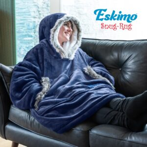 Snug Rug Eskimo Blanket Hoodie Oversized Giant Sweatshirt - Navy Blue-0