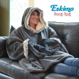 Snug Rug Eskimo Blanket Hoodie Grey