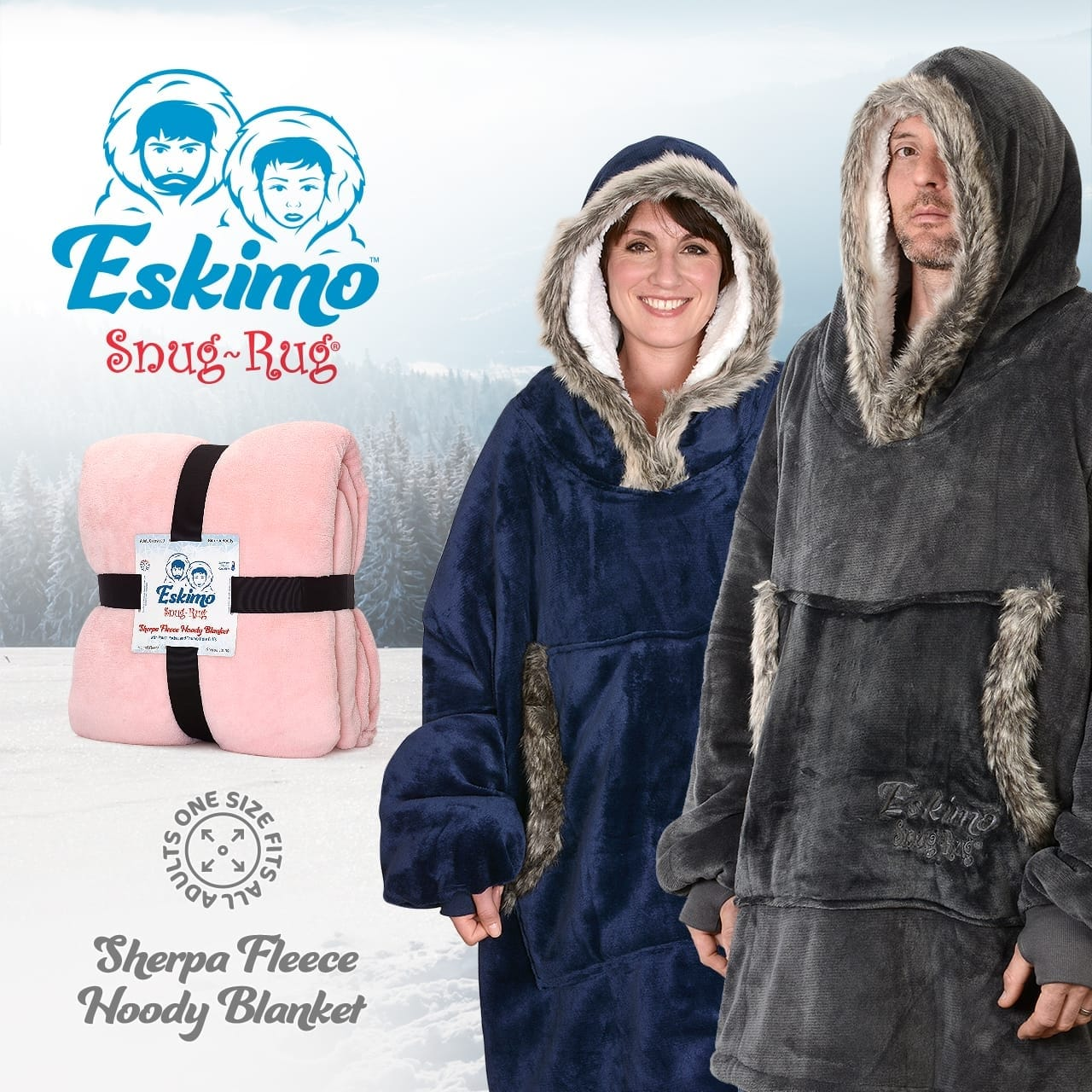 The Eskimo Blanket Hoodie Pink By Snug Rug