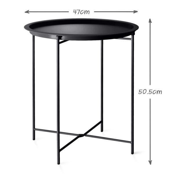 Black Steel Outdoor Bistro Table Foldable With Removable Tray