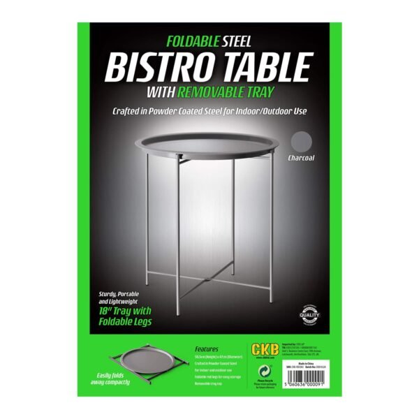 Charcoal Grey Steel Outdoor Bistro Table Foldable With Removable Tray