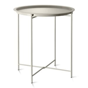 Clay Steel Outdoor Bistro Table Foldable With Removable Tray