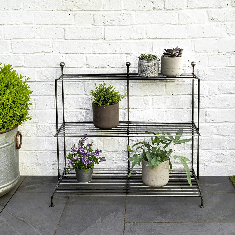 Large Metal 3 Tier Plant Stand Flower Pot Indoor Outdoor Pot Steps