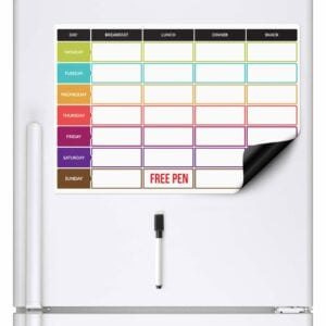 Magnetic Planning Fridge Whiteboard Week Diet Meal Planner | Free Pen | A3