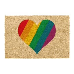 rainbow heart doormat