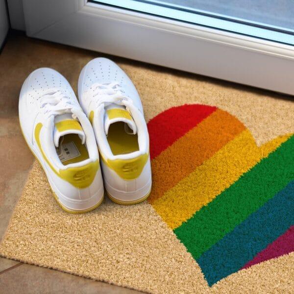 rainbow heart doormat