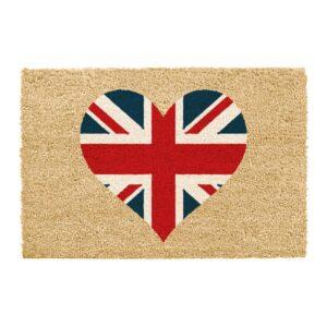 Union Jack Heart Printed Colourful Novelty Coir Doormat