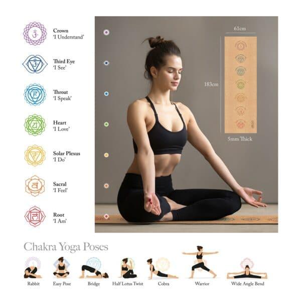 Cork Yoga Chakra Mat with Strap & Bag