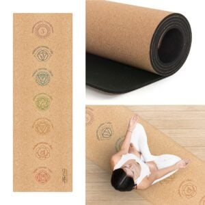 Cork Yoga Chakra Mat with Strap & Bag