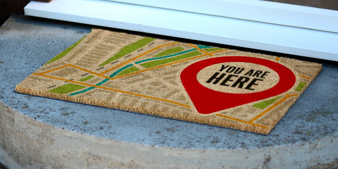 You Are Here Entrance Doormat