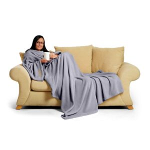 Lilac Grey Green Snug-Rug DELUXE Blanket With Sleeves