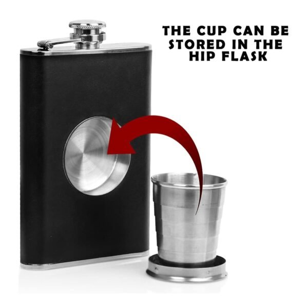 Bar Amigos Hunter Hip Flask with Collapsible Metal Shot Cup