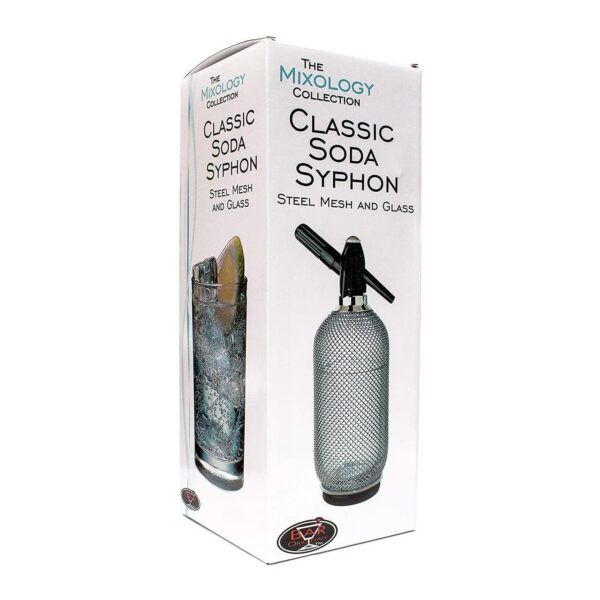 1 Litre Classic Steel Mesh Glass Soda Syphon Sparkling Water Maker