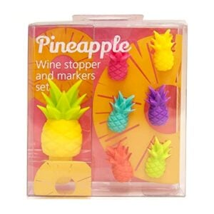 Pineapple Wine Bottle Stopper and a Set of 6 Glass Markers