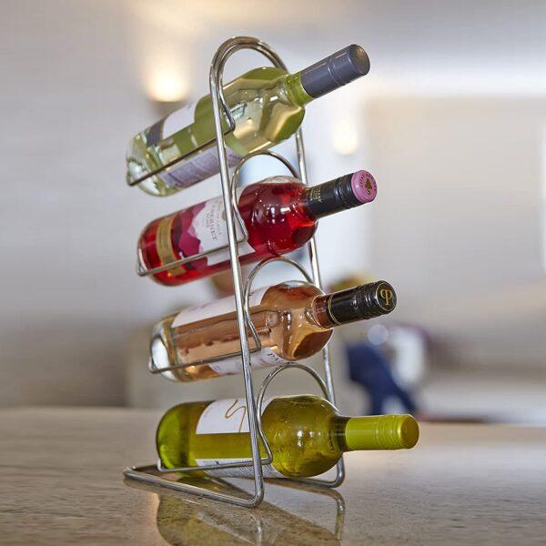 Pisa Metal Chrome Wine Rack
