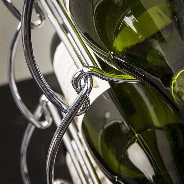 Metal Chrome Stackable Wave Design Wine Rack