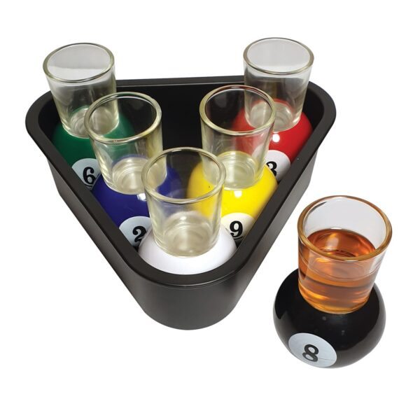 Set of 6 Pool Novelty Shot Glasses & Rack Serving Tray