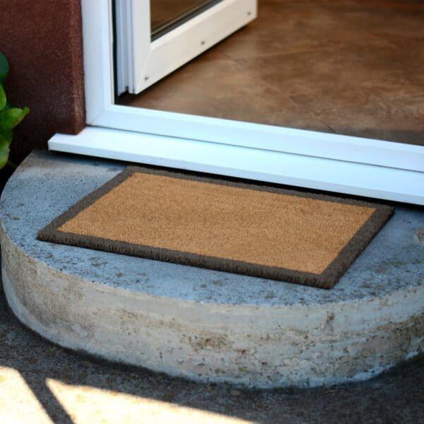 Grey Border Novelty Coir Doormat