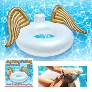 Inflatable Swim Ring Pool Float with Gold Angel Wings