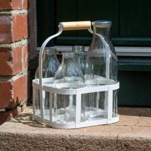4 Bottle White Metal Milk Crate