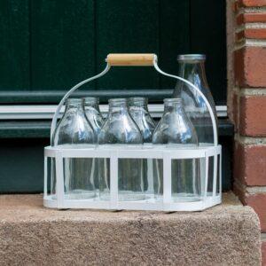 6 Bottle White Metal Milk Crate
